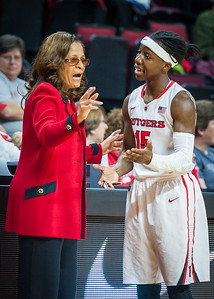 Rutgers head coach C. Vivian Stringer and Syessence Davis