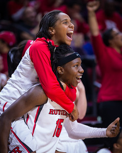 Tyler Scaife and Syessence Davis celebrate Rutgers' 100 points.