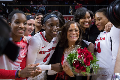 Rutgers head coach C. Vivian Stringer was celebrated after the game for achieving the most wins BIg Ten women's basketball history.