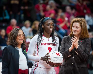 Rutgers head coach C. Vivian Stringer, Kahleah Copper, Rutgers Athletic Director Julie Hermann