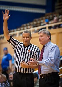 DePaul head coach Doug Bruno, official Daryl Humphrey