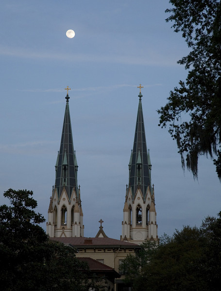 Moon over church steeples