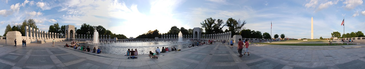World War 2 Memorial Panorama View it full screen: http://photos.kevinworkman.com/Pictures/2011/i-SMFMwzd/0/O/WorldWarTwoMemorial1.jpg
