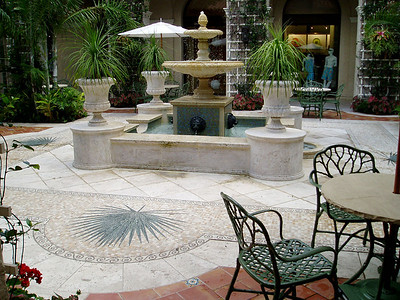 Formal fountain and patio featuring a palm mosaics
