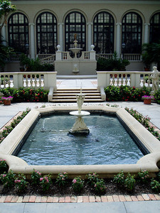 Formal fountain and gardens