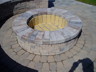 Hanover chapel stone firepit and Appian circle patio