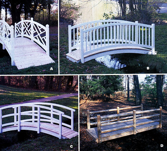 A)  Chippendale Bridge B)  Picket Bridge C)  Simple Bridge D)  Log Rail Bridge Walpole Woodworkers 800-343-6948