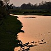 Sunken boats at sunset in a river in Kaziranga national park