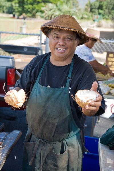 Coconut man, Farmers Market, Koloa, Kaua'i
