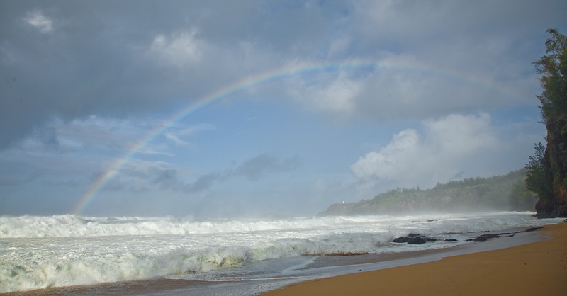 Rainbow over Secret Beach, Kaua'i