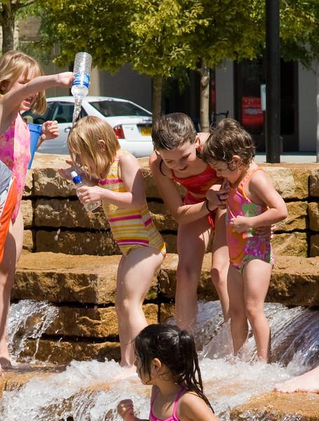 Girls in fountain, Jamison Square, Portland
