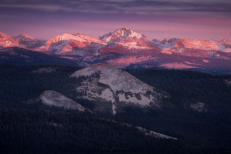 Fall sunset over Dinkey Lakes Wilderness