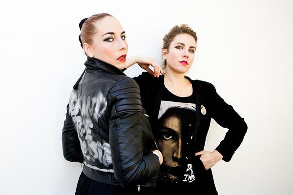 Swedish singer-songwriter Jenny Wilson with her sister (and guitarist) backstage at Ja Ja Ja Festival in London on 15th November 2014        jennywilson.se