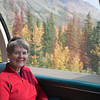 Margaret riding the Alaska Railroad from Denali to Anchorage