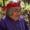 Hopi elder translating the petroglyphs at the V bar V site near Sedona