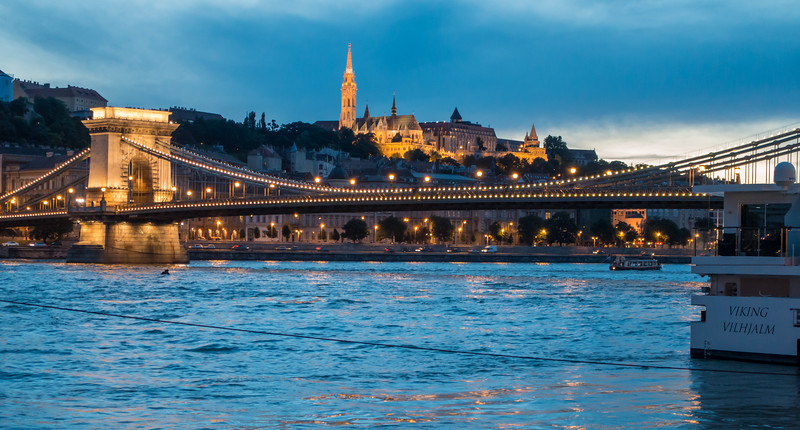 Danube River, Chain Bridge with St. Mathias Church on the hill