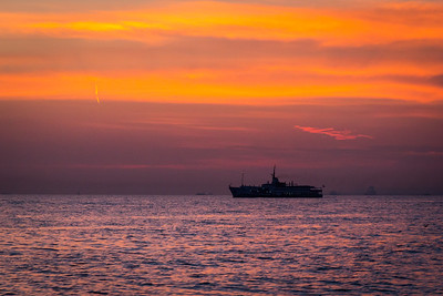Boat after sunset