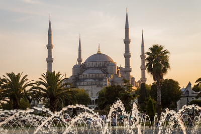 Blue Mosque at dusk with fountain
