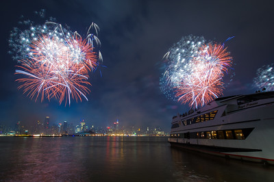 Independence Day Fireworks Macy's Fireworks over the Hudson River as seen from Weekhawken, NJ.  July 4, 2012.
