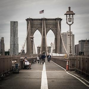 View across Brooklyn Bridge facing Manhattan