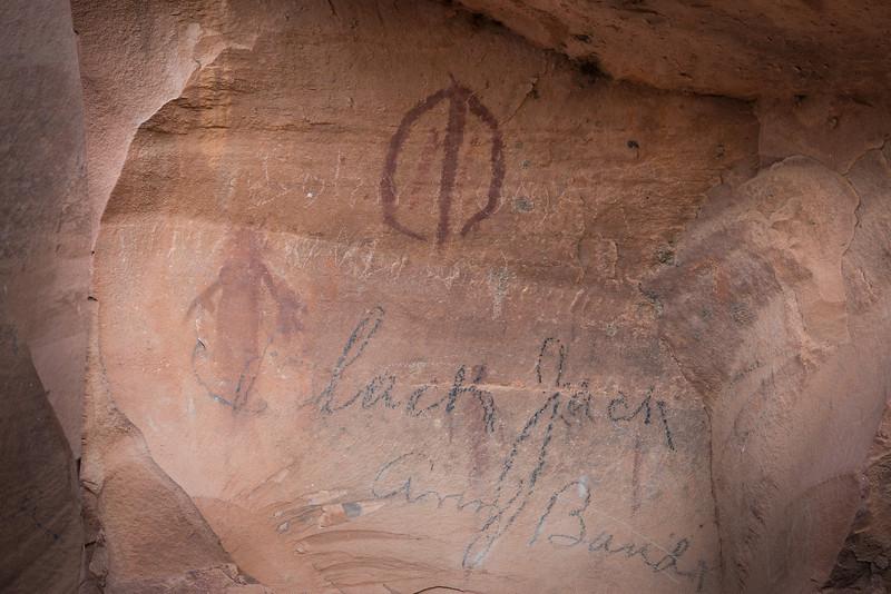 Pictographs and historical graffiti, Honanki ruins, Sedona