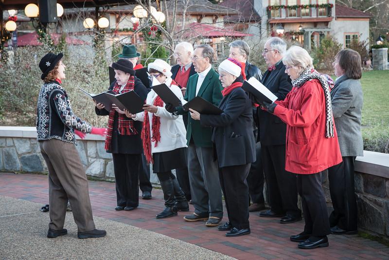 Christmas carolers at Antler Village