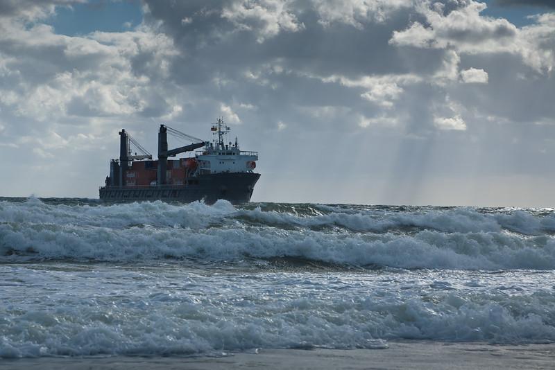 Cargo ship approaching Palm Beach