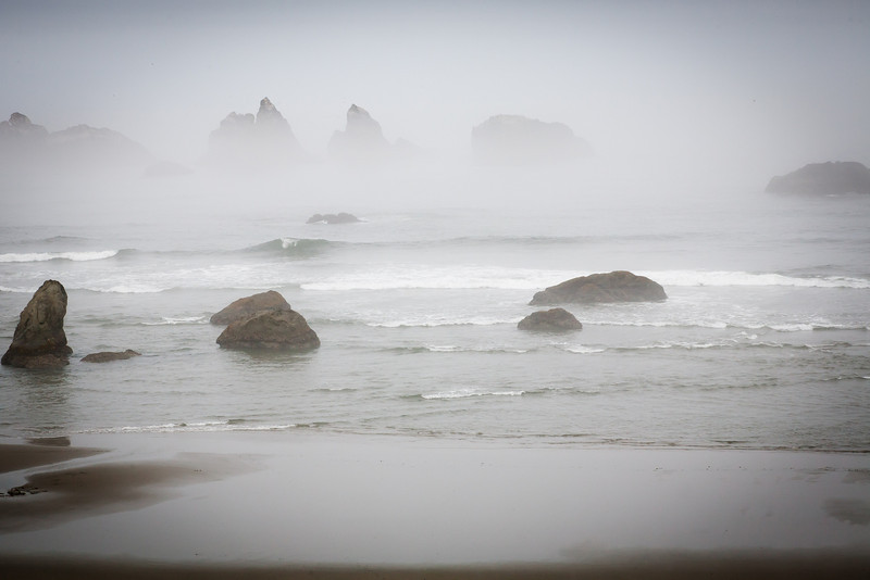 Bandon Beach in morning fog