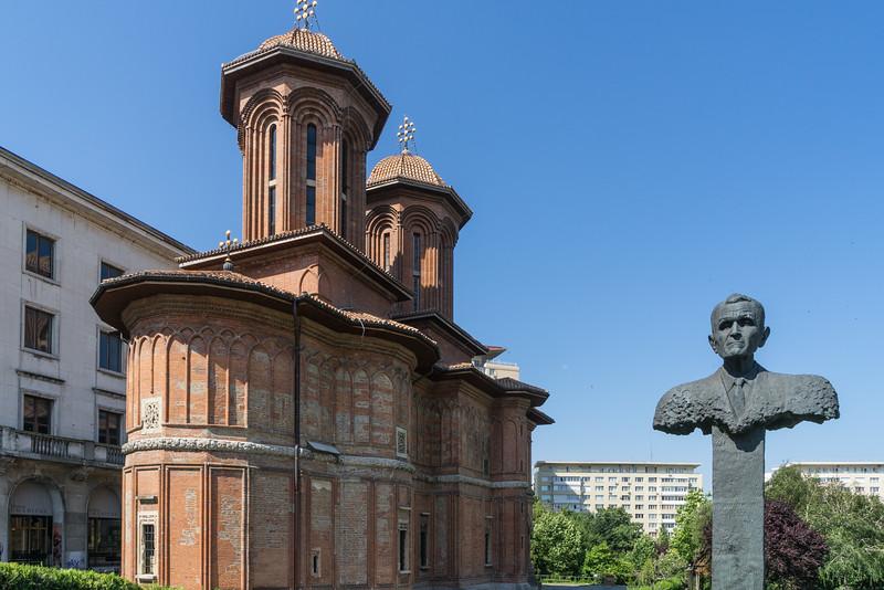 Corneliu Coposu statue and Kretzulescu Church