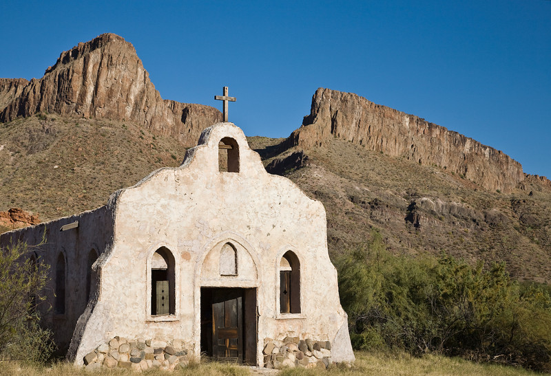 Chapel in movie set, Big Bend State Park