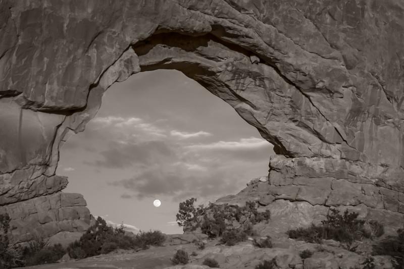 Full moon through North Window Arch