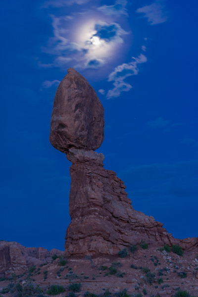 Balanced Rock under full moon