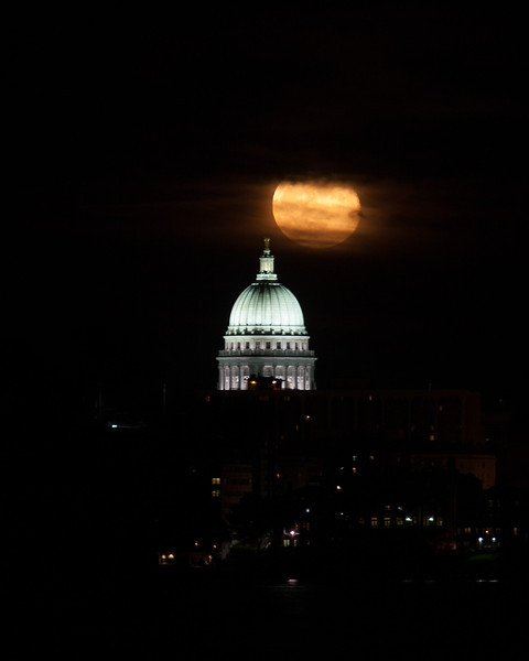 Moonrise over Capitol, Madison, WI