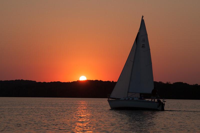 Sailing at sunset, Lake Mendota, Madison, Wisconsin