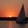 Sailing at sunset, Lake Mendota, Madison, Wisconsin