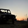 Silhouette of a tourist safari vehicle in Sawai Man Singh sanctuary in Rajasthan