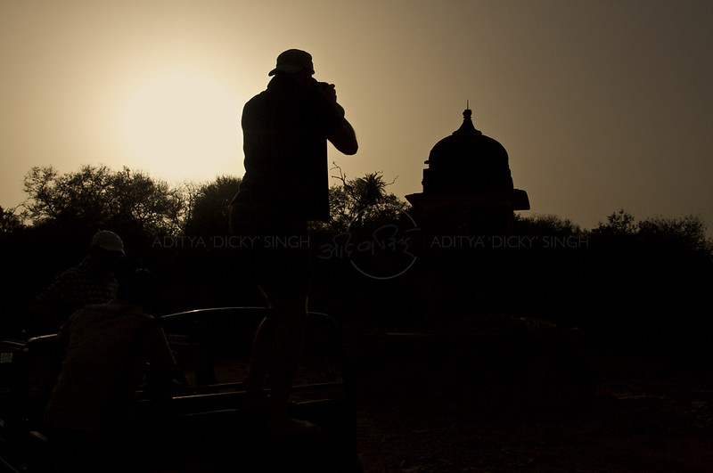 Silhouette of a photographer in Ranthambore