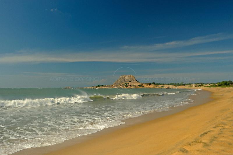 Waves breaking in the sea coast of the Yala national park in  Sri Lanka