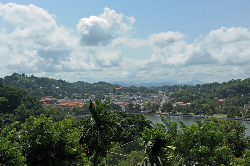 Over head view of Kandy, Sri Lanka during the monsoons