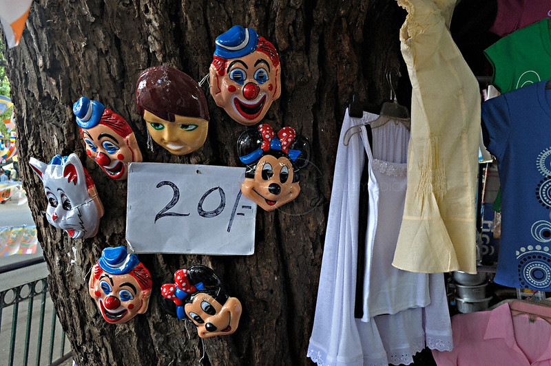 Masks for sale in a street market in Kandy, Sri Lanka during a budh purnima festival.