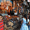 Shoe shop in a street market in Kandy, Sri Lanka during a budh purnima festival.