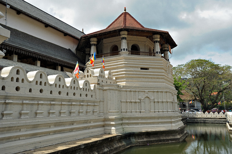 Buildings of the  Sri Dalada Maligawa or temple of the tooth relic in Kandy, Sri Lanka
