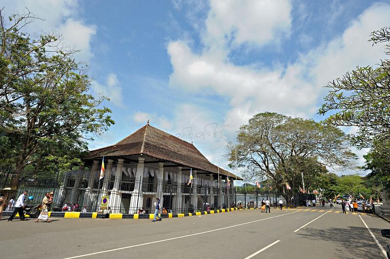 Street outside the Sri Dalada Maligawa or temple of the tooth relic in Kandy, Sri Lanka