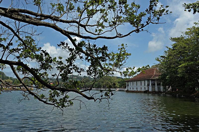 Kandy lake near the Sri Dalada Maligawa or temple of the tooth relic in Kandy, Sri Lanka