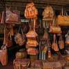 Leather shop in a street market in Kandy, Sri Lanka during a budh purnima festival.