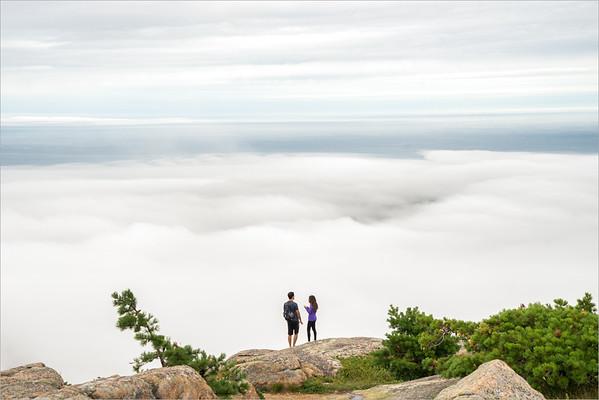 Fog sea over Bar Harbor (Maine)