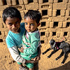 children in a community that has been making bricks near Mandawa