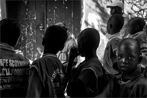 "Gorée island - kids lined up for the visit to the ""House of slaves"""