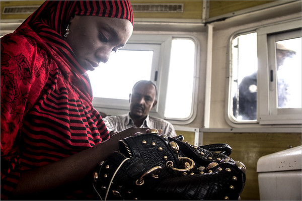 on the ferry to the Gorée island