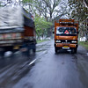 Goods carriers or trucks on a highway in Assam